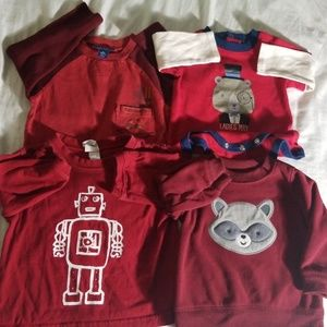 Boy's red long sleeved bundle, 3-6 months